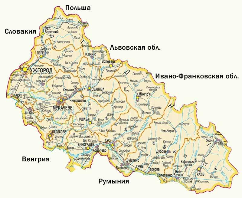 Карта Закарпатья