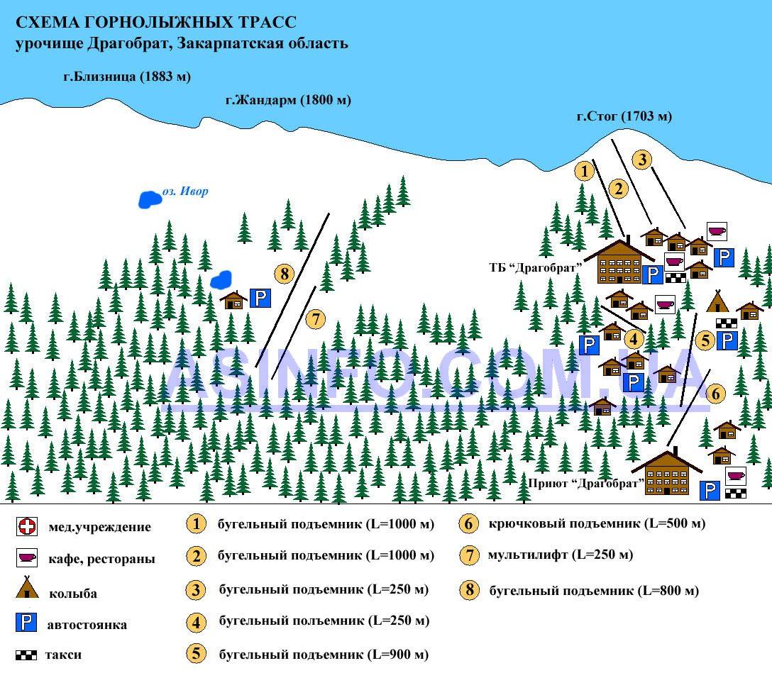 Карта схема горнолыжных трасс и подъемников на Драгобрате