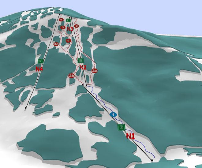 Карта схема горнолыжных трасс и подъемников - г, Красия